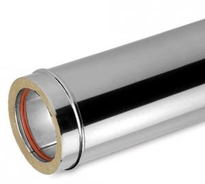 Ανοξείδωτη καμινάδα διπλού τοιχώματος (INOX) πάχους 0,40mm Διατομή Φ80/130 Μήκος 1m