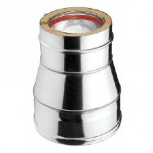Ανοξείδωτη συστολή διπλού τοιχώματος (INOX) πάχους 0,40mm Διατομή Φ130/100