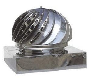 Καπέλο καμινάδας Ανοξείδωτο Περιστροφικό με Τετράγωνη Βάση πάχους 0,40mm Διαστάσεις 36Χ36cm