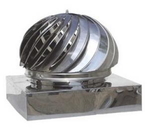 Καπέλο καμινάδας Ανοξείδωτο Περιστροφικό με Τετράγωνη Βάση πάχους 0,40mm Διαστάσεις 45Χ45cm