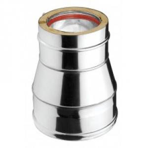 Ανοξείδωτη συστολή διπλού τοιχώματος (INOX) πάχους 0,40mm Διατομή Φ150/100
