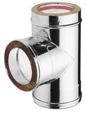 Ανοξείδωτο τάφ διπλού τοιχώματος (INOX) πάχους 0,40mm Διατομή Φ100/150