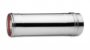 Ανοξείδωτη καμινάδα μονού τοιχώματος (INOX) πάχους 0,40mm Διατομή Φ150 Μήκος 1m
