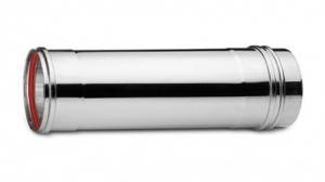 Ανοξείδωτη καμινάδα μονού τοιχώματος (INOX) πάχους 0,40mm Διατομή Φ130 Μήκος 1m