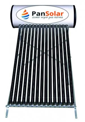 Ηλιακός Θερμοσίφωνας Κενού Αέρος 150 Λίτρα PanSolar Inox Διπλής Ενεργείας με Επιφάνεια 2,8 τμ. (15 σωλήνες)